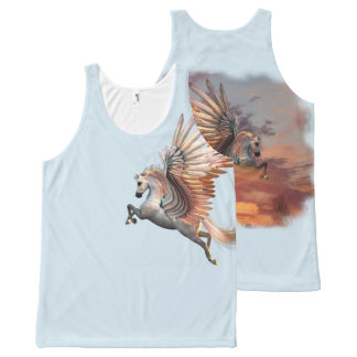 Sunset Pegasus All-Over Printed Unisex, pick color All-Over Print Singlet