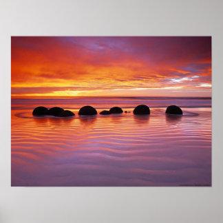 Sunset rocks posters