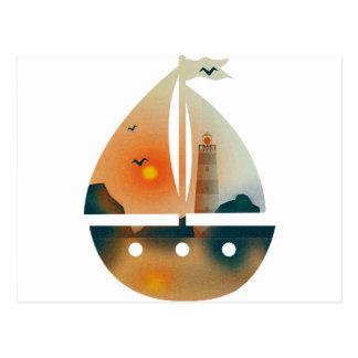 Sunset_sail boat postcard