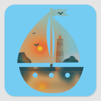 Sunset_sail boat square sticker