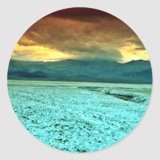Sunset, Salt And Borate Flats Round Stickers
