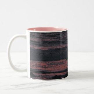 Sunset sea bird Two-Tone coffee mug