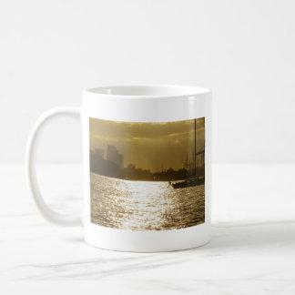 Sunset Speedboat & Sailboat Silhouettes Coffee Mug
