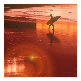 Sunset Surfer Invitaiton 13 Cm X 13 Cm Square Invitation Card