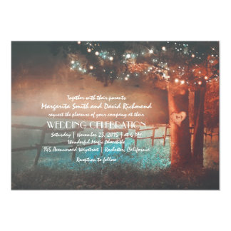 Sunset Tree Lights Rustic Outdoor Wedding Invites