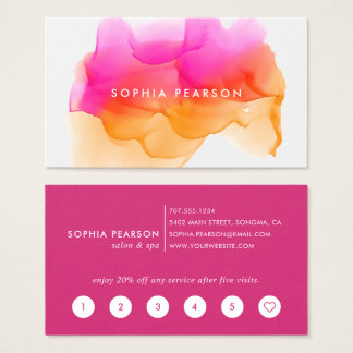 Sunset Watercolor Blot | Loyalty Business Card