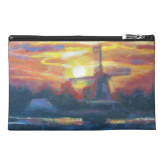 Sunset Windmill Painting Travel Accessory Bag