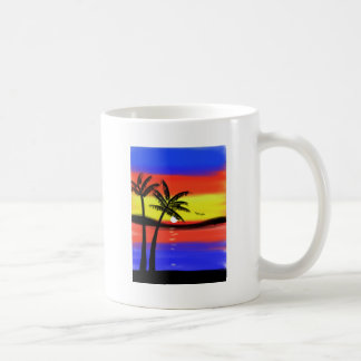 Sunset with Palm Trees Basic White Mug