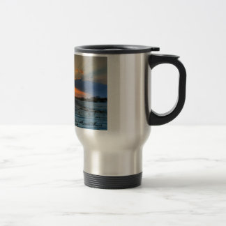 Sunsets and beaches travel mug