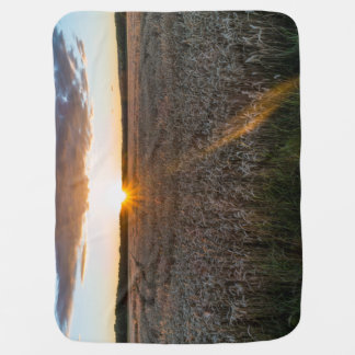 Sunsets field baby blanket