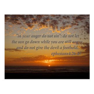 sunset's last moment with ephesians 4:26-27 postcard