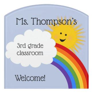 Sunshine And Rainbow Personalized Teacher Door Sign