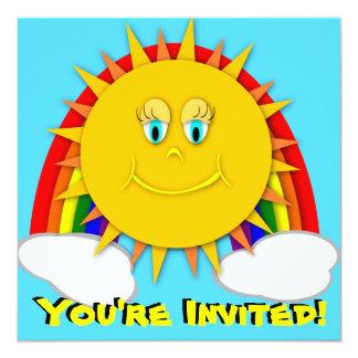 Sunshine Day Rainbow Birthday Party Invitaitons 13 Cm X 13 Cm Square Invitation Card