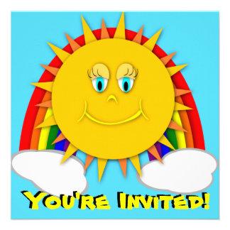 Sunshine Day Rainbow Birthday Party Invitaitons Personalized Invitation