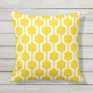 Sunshine Yellow Geometric Trellis Outdoor Pillows