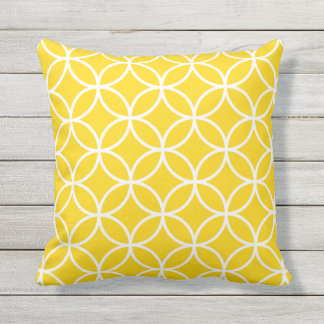 Sunshine Yellow Outdoor Pillows - Circle Trellis