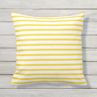 Sunshine Yellow Summer Stripes Outdoor Pillows