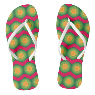 Super cool green orange pink designer flip flop thongs