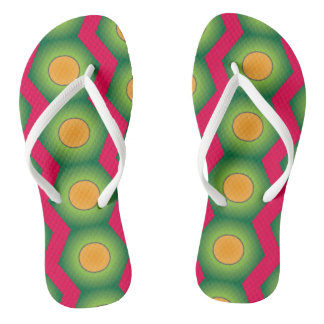 Super cool pink orange green pattern flip flop thongs
