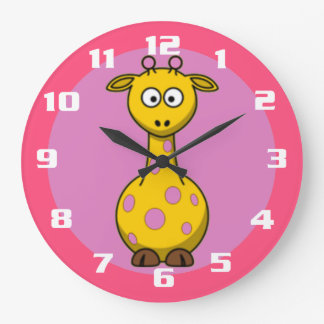 Super Cute Giraffe Bubble gum Pink kids room Wallclock
