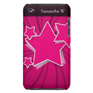 Super Hot Pink Stars and Swirl Background iPod Touch Case