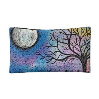 Super Moon and Tree Landscape Makeup Bag