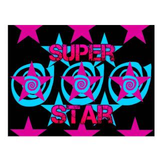 Super Star Hot Pink Teal Swirls Stars Pattern Postcard