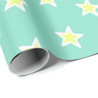 Super Star Sea Foam Green Wrapping Paper