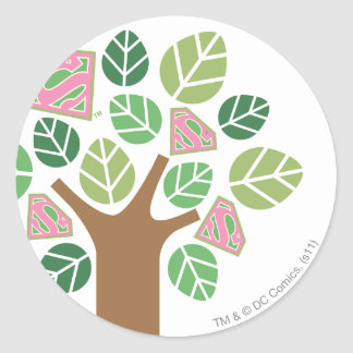 Supergirl All Natural Tree Classic Round Sticker