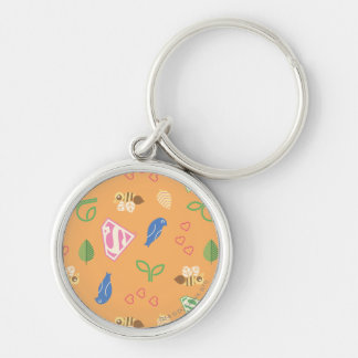 Supergirl Birds & the Bees Orange Silver-Colored Round Key Ring