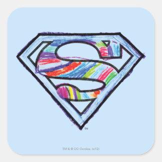 Supergirl Colorful Sketch Logo Square Sticker