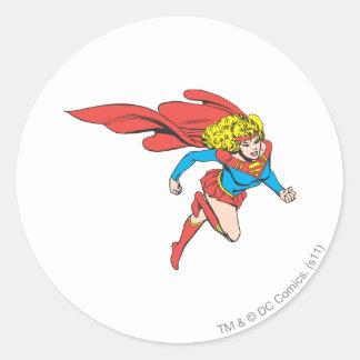 Supergirl Leaps Right Classic Round Sticker