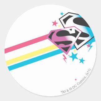 Supergirl Rainbow Stripes Classic Round Sticker