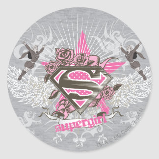 Supergirl Star and Roses Classic Round Sticker