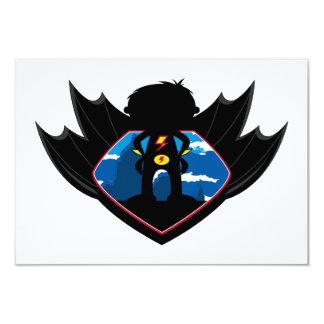 Superhero Boy in Winged Shield 9 Cm X 13 Cm Invitation Card