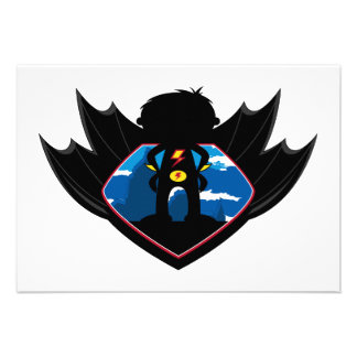 Superhero Boy in Winged Shield Personalized Invite