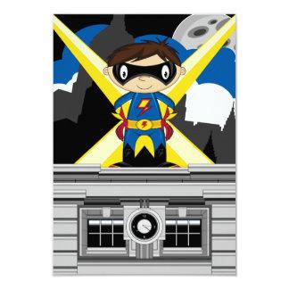 Superhero Boy on Rooftop 9 Cm X 13 Cm Invitation Card