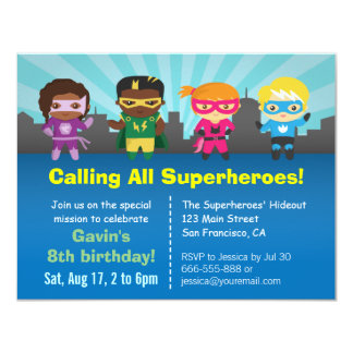 Superhero Group Kids Birthday Party Invitations