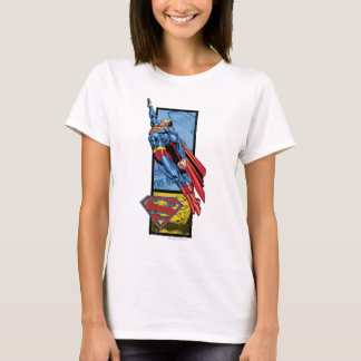 Superman jumps up with logo T-Shirt