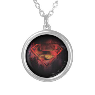 Superman S-Shield | Painted Logo Silver Plated Necklace