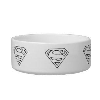 Superman S-Shield | Simple Black Outline Logo Cat Food Bowl