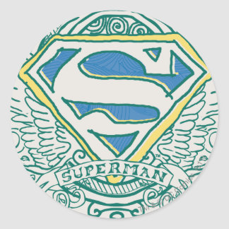 Superman Stylized | Wings and Name Logo Round Sticker