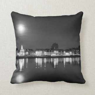Supermoon rising over Norfolk town UK BW Cushion