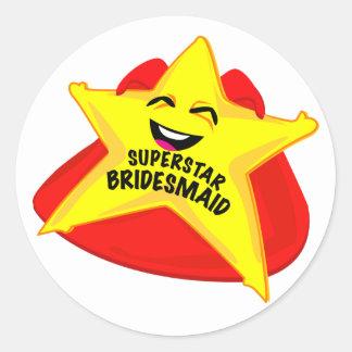superstar bridesmaid funny sticker! round sticker