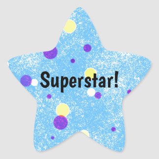 Superstar! Yellow and Purple Dots on Blue Star Sticker