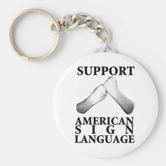 Support American Sign Language (back) Key Ring