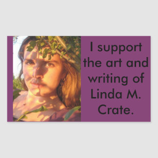 support the writing and art of L. M. Crate Rectangular Sticker