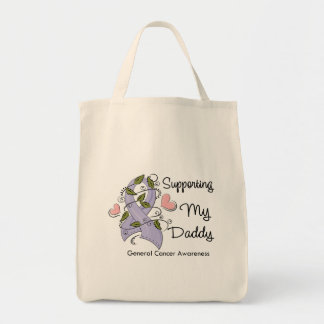 Supporting My Daddy - Cancer Awareness Grocery Tote Bag