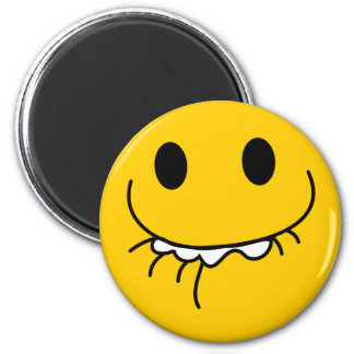Suppressed laughing yellow smiley face 6 cm round magnet