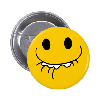Suppressed laughing yellow smiley face 6 cm round badge